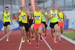 31-07-2015 NED: Asics NK Atletiek, Amsterdam<br /> Nk outdoor atletiek in het Olympische stadion Amsterdam /   winnaar Jurjen Polderman #170, Dennis Licht #120, Richard Douma #76, 1500 meter