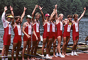 Lucerne, SWITZERLAND  DEN LM8+. 1992 FISA World Cup Regatta, Lucerne. Lake Rotsee.  [Mandatory Credit: Peter Spurrier: Intersport Images] 1992 Lucerne International Regatta and World Cup, Switzerland