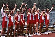 Lucerne, SWITZERLAND  DEN LM8+. 1992 FISA World Cup Regatta, Lucerne. Lake Rotsee.  [Mandatory Credit: Peter Spurrier: Intersport Images] 1992 Lucerne International Regatta and World Cup, Switzerland