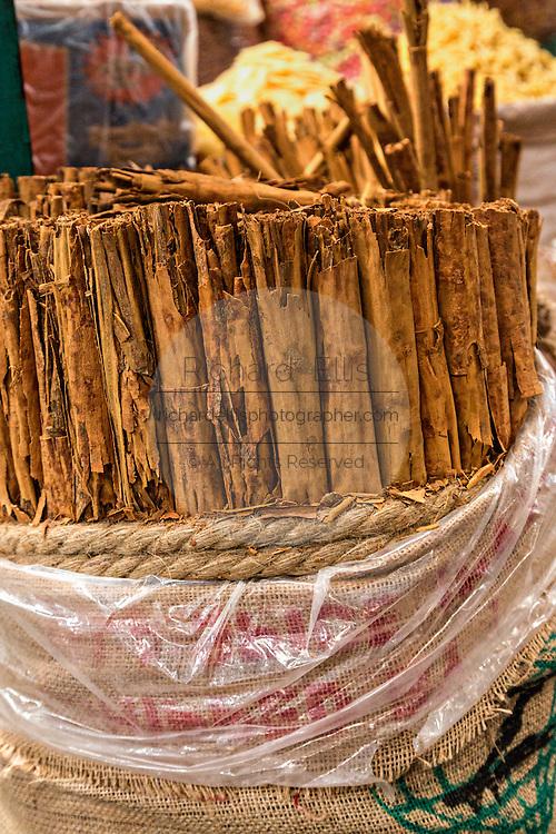 Cinnamon sticks at Benito Juarez market in Oaxaca, Mexico.