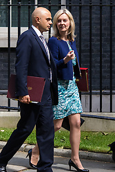 Downing Street, London, June 16th 2015. Business Secretary Sajid Javid and Elizabeth Truss, Secretary of State for Environment, Food and Rural Affairs leave 10 Downing Street following the weekly cabinet meeting.