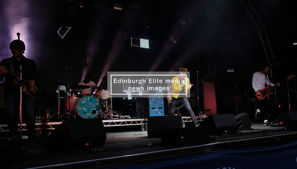 Party at the Palace, Linlithgow, Saturday 12th August 2017<br /> <br /> Kaiser Chiefs perform at Party at the Palace with lead singer Ricky Wilson in a yellow jleather acket<br /> <br /> (c) Alex Todd   Edinburgh Elite media