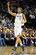 Dirk Nowitzki (41) of the Dallas Mavericks celebrates after a made three-pointer against the Los Angeles Lakers at the American Airlines Center in Dallas on Sunday, February 24, 2013. (Cooper Neill/The Dallas Morning News)