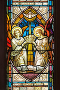 'Crown of Life (Horace B. Hathaway Memorial Window),' attributed to Charles Booth, 1889. St. Matthew and Barnabas, Hallowell, Maine.