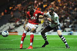 Jonathan Kodjia of Bristol City looks to control the ball under pressure from Paul Huntington of Preston North End - Mandatory byline: Dougie Allward/JMP - 07966386802 - 15/09/2015 - FOOTBALL - Deepdale Stadium -Preston,England - Bristol City v Preston North End - Sky Bet Championship