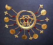 The Aigina Treasure, a rich collection of jewellery and a single golden cup.  Although believed to have been found on the island of Aigina, it seems largely to be of Minoan Cretan workmanship, perhaps made between about 1850-1550 BC.  The treasure may have belonged to members of a Minoan family or families living on the island, and may have been buried