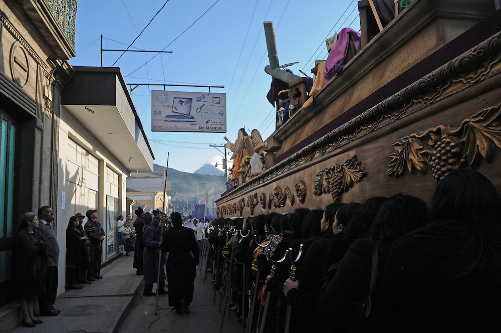 Young and old, men and women took part in the Procession of Jesus of Nazareth in Quetzaltenago Guatemala Sunday afternoon. One of the brotherhoods made up by women take over carring the float which help a depiction of Jesus of Nazareth as they slowly made their way down the procession route.
