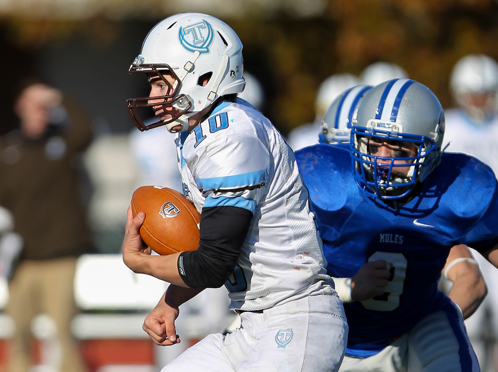 Johnny Lindquist, of Tufts University, in an NCAA Division III college football game at Seaverns Field at Harold Alfond Stadium, Saturday Nov. 5, 2011 in Waterville, ME.  (Dustin Satloff/Colby College Athletics)