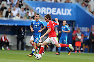 Joe Allen of Wales in action.  Euro 2016, Wales v Slovakia at Matmut Atlantique , Nouveau Stade de Bordeaux  in Bordeaux, France on Saturday 11th June 2016, pic by  Andrew Orchard,
