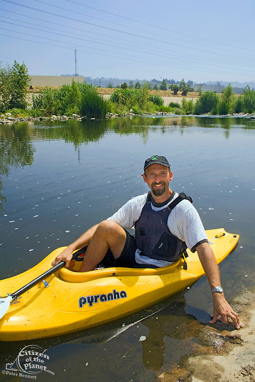 Kayaker George Wolfe who led the three day Los Angeles River Expedition in 2008 that led the to EPA declaring the river a Navigable waterway.