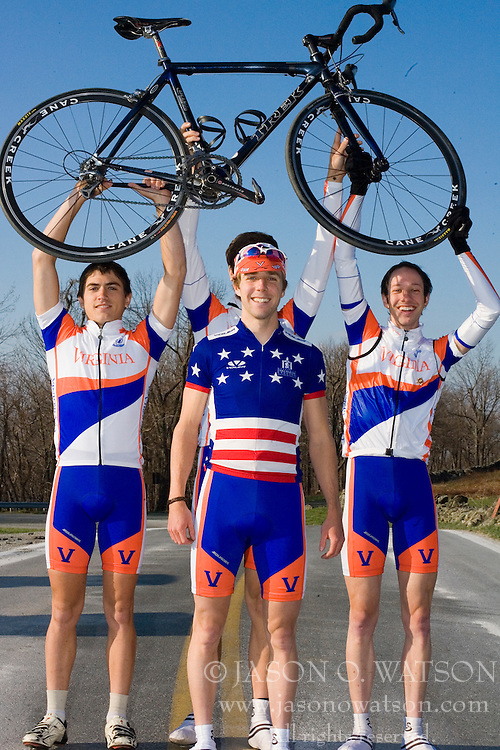 Virginia Cavaliers U.S. National Collegiate Champion Mark Hardman with teammates (left to right) Stephen DeLisle, Michael Esbach, and Adam Winck...Members of the University of Virginia Cycling Team met at Reeds Gap on the Blue Ridge Parkway in Virginia on April 9, 2007 for a team photo shoot.