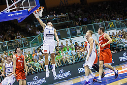 Edo Muric, Blazic Jaka and Luka Doncic of Slovenia during friendly basketball match between National teams of Slovenia and Hungary on day 1 of Adecco Cup 2017, on August 4th in Arena Tabor, Maribor, Slovenia. Photo by Grega Valancic/ Sportida