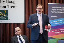 © Licensed to London News Pictures . 16/02/2017. Stoke-on-Trent, UK. PATRICK O'FLYNN listens as GARETH SNELL speaks . Hustings in Stoke-on-Trent Central by-election at the Quality Hotel in Stoke , for local businesses with Lib Dem candidate Dr Zulfiqar Ali, Conservative candidate Jack Brereton,  Labour candidate Gareth Snell and, in place of UKIP candidate Paul Nuttall who didn't turn up , Patrick O'Flynn . Photo credit: Joel Goodman/LNP