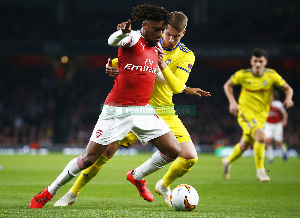 February 21, 2019 - London, Greater London, United Kingdom - Alex Iwobi of Arsenal..during UEFA Europa League Round of 32 2nd Leg between Arsenal and of Bate Borisov at Emirates stadium , London, England on 20 Feb 2019. ..Credit Action Foto Sport. (Credit Image: © Action Foto Sport/NurPhoto via ZUMA Press)