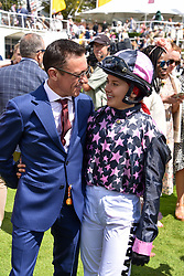 29 July 2021 - The QATAR Goodwood Festival Ladies Day at Goodwood Racecourse, West Sussex.<br /> Picture Shows - Frankie Dettori and his daughter Ella Dettori..<br /> <br /> NON EXCLUSIVE - WORLD RIGHTS