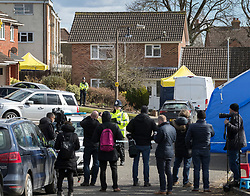 © Licensed to London News Pictures. 08/03/2018. Salisbury, UK. Reporters and photographers gather at the house of Sergei Skripal as police prepare to search his home. Former Russian spy Sergei Skripal, his daughter Yulia and a policeman are still critically ill after being poisoned with nerve agent. The couple where found unconscious on bench in Salisbury shopping centre. Authorities continue to investigate. Photo credit: Peter Macdiarmid/LNP