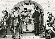 'Thames subway between Tower Hill and Vine Street: Men entering the subway carriage for their journey under the Thames to work  on the opposite side of the river. Engraving, 1870.'