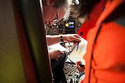 Cargo plane controlled by the DGCA (Directorate General of Civil Aviation) in Roissy- Paris France. The DGCA has the power to forbid a plane to take off and force passengers to disembark if a threat to flight safety is detected.<br /> <br /> <br /> Avion de fret controlé par la DGAC (Direction générale de l'aviation civile) à Roissy. la DGAC a le pouvoir d'empêcher un avion à décoller et obliger les passagers à débarquer si une menace sur la sécurité du vol est détectée.