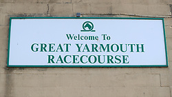 A detailed view of a sign at Yarmouth Racecourse.