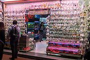 Aquarium shop with aquarium fish in plastic bags ready for sale at Goldfish Market, Tung Choi Street, Hong Kong, China.