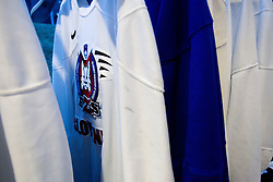 Equipment in wardrobe prior to the Practice session of Slovenian U20 ice-hockey team, on December 08, 2011 in Ledena dvorana, Bled, Slovenia. (Photo By Vid Ponikvar / Sportida.com)