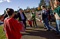 CHESHIRE, CT - 02 NOVEMBER 2010 -.U. S. Rep. Chris Murphy (D-5th), his wife Cathy and son Owen are greeted by supporters gathered in front of Cheshire High School during voting hours on Tuesday morning as Murphy arrived to vote at the school. Murphy is challenged by Sen. Sam Caligiuri (R-16th)..Photo by Josalee Thrift