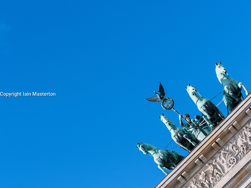 Detail of Quadriga on Brandenburg Gate in Berlin, Germany