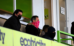 Forest Green Rovers manager Mark Cooper Chairmen and Owner Dale Vince- Mandatory by-line: Nizaam Jones/JMP - 16/01/2021 - FOOTBALL - innocent New Lawn Stadium - Nailsworth, England - Forest Green Rovers v Port Vale - Sky Bet League Two