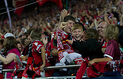 27.08.2010, Fritz Walter Stadion, Kaiserslautern, GER, 1. FBL, 1. FC Kaiserslautern vs FC Bayern München, im Bild FCK Fans beim Jubeln nach dem 1zu0, EXPA Pictures © 2010, PhotoCredit: EXPA/ A. Neis / SPORTIDA PHOTO AGENCY