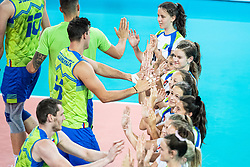 Ball kids high fiveing Slovenian national team players during friendly volleyball match between Slovenia and Serbia in Arena Stozice on 2nd of September, 2019, Ljubljana, Slovenia. Photo by Grega Valancic / Sportida