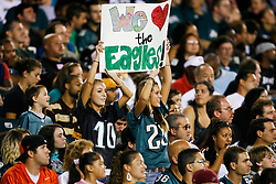 """Philadelphia Eagles fans hold up a sign in the stands that reads """"We Lover the Eagles"""" during the NFL game between the Jacksonville Jaguars and the Philadelphia Eagles on August 27th 2009. The Eagles won 33-32 at Lincoln Financial Field in Philadelphia, Pennsylvania.  (Photo By Brian Garfinkel)"""