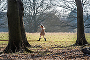 © Licensed to London News Pictures. 22/03/2015. Richmond, UK. A young girl walks through the park.  People enjoy the late afternoon sunshine in Richmond Park, Surrey, today 22nd March 2015. Photo credit : Stephen Simpson/LNP