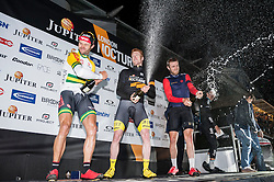 © Licensed to London News Pictures. 06/06/2015. London, UK. (L to R) Steele Von Hoff (2nd), Ed Clancy (1st) and Chris Lawless (3rd) celebrate on the podium after the the Santini Elite Criterium, as the 9th edition of the award winning Jupiter London Nocturne hits the streets of Farringdon.  The event brings the best criterium racing to the fast and technical race circuit around Smithfield Market, with a mix of elite and amateur races for male and female riders. Photo credit : Stephen Chung/LNP