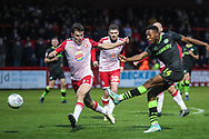 Forest Green Rovers Ebou Adams(14) shoots at goal saved by Stevenage goalkeeper Paul Farman(1) during the EFL Sky Bet League 2 match between Stevenage and Forest Green Rovers at the Lamex Stadium, Stevenage, England on 26 December 2019.