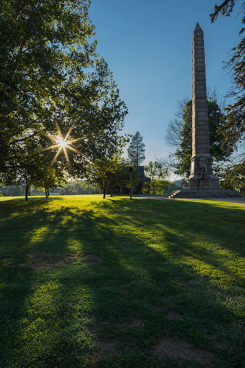 Sunburst and the battle monument located at Tu-Endie-Wei park in Point Pleasant, West Virginia.