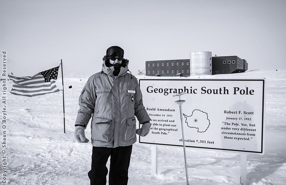 Shaun O'Boyle (that's me) at the geographic South Pole