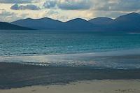 Vista panorámic de North Harris desde playa Seilebost. Panoramic view of North Harris from Seilebost Beach. South Harris Island. Outer Hebrides. Scotland, UK