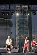 Friday, August 1, 2008; The Go! Team performs at Lollapalooza 2008 featuring Ninja (Nkechi Ka Egenamba) - rapper/vocalist, Ian Parton - electric guitar, harmonica, and drums, Sam Dook - electric guitar, banjo, and drums, Chi Fukami Taylor - drums, vocals, Kaori Tsuchida - vocals, electric guitar, keys, and melodica, Jamie Bell - bass..Photo by Bryan Rinnert