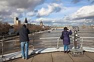 Cologne, Germany, February 4th. 2021, flood of the river Rhine, view from the terrace of the Chocolate Museum to the cathedral.<br /> <br /> Koeln, Deutschland, 4. Februar 2021, Hochwasser des Rheins, Blick von der Terrasse des Schokoladenmuseums zum Dom.