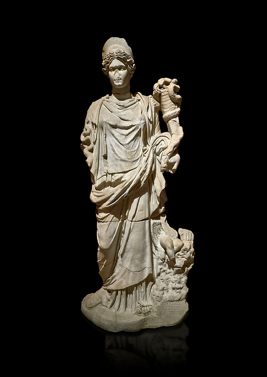 Roman statue of Hygieia. Marble. Perge. 2nd century AD. Inv no .Antalya Archaeology Museum; Turkey. Against a black background.<br /> <br />  Hygieia was one of the Aeclepiadae; the sons and daughters of the god of medicine; Asclepius; and the goddess of healing; Epione. She was the goddess of health; cleanliness and hygiene. .<br /> <br /> If you prefer to buy from our ALAMY STOCK LIBRARY page at https://www.alamy.com/portfolio/paul-williams-funkystock/greco-roman-sculptures.html . Type -    Antalya     - into LOWER SEARCH WITHIN GALLERY box - Refine search by adding a subject, place, background colour, museum etc.<br /> <br /> Visit our ROMAN WORLD PHOTO COLLECTIONS for more photos to download or buy as wall art prints https://funkystock.photoshelter.com/gallery-collection/The-Romans-Art-Artefacts-Antiquities-Historic-Sites-Pictures-Images/C0000r2uLJJo9_s0