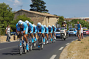 France, Grabels, 7 July 2009: Team Milram head out of Grabels during Stage 4 of the 2009 Tour de France cycle race. This stage was the Team Time Trial and started and ended in Montpellier and was 39km long. Photo by Peter Horrell / http://peterhorrell.com .