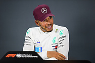 SINGAPORE - SEPTEMBER 16: Lewis Hamilton (44) of Mercedes AMG Petronas Motorsport reaction during the Driver Press Conference at F1 Singapore Grand Prix 2018, Marina Bay Street Circuit, Singapore on September 16, 2018. <br /> .<br /> .<br /> .<br /> (Photo by: Naratip Golf Srisupab/SEALs Sports Images)<br /> .<br /> Any image use must include a mandatory credit line adjacent to the content which should read: Naratip Golf Srisupab/SEALs Sports Images