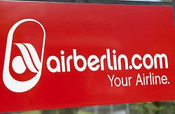 THEMENBILD - das Logo der airberlin Fluggesellschaft am Flughafen Innsbruck, Österreich, aufgenommen am 09.07.2015 // the logo of the airberlin airline at Innsbruck Airport, Austria on 2015/07/09. EXPA Pictures © 2015, PhotoCredit: EXPA/ Jakob Gruber