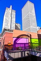 Denver Pavilions (shopping and entertainment complex) with skyscrapers of Downtown Denver in background, Denver, Colorado USA