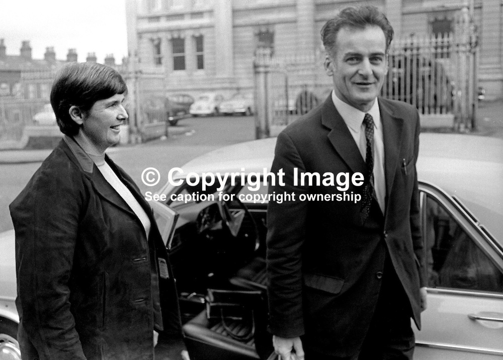 Frank Gogarty, prominent member, N Ireland Civil Rights Association, NICRA, is met by his wife after leaving Crumlin Road Jail, Belfast, on completing  4 months of a 6 months sentence for a public order offence. 25th June 1971. 197106250251FG3.<br /> <br /> Copyright Image from Victor Patterson, Belfast, UK<br /> <br /> t: +44 28 9066 1296 (from Rep of Ireland 048 9066 1296)<br /> m: +44 7802 353836<br /> e: victorpattersonbelfast@gmail.com<br /> <br /> www.images4media.com<br /> <br /> Please see my full Terms and Conditions of Use at https://www.images4media.com/p/terms-conditions - it is IMPORTANT that you familiarise yourself with them.<br /> <br /> Images used online incur an additional cost. This cost should be agreed in writing in advance. Online images must be visibly watermarked i.e. © Victor Patterson or that of the named photographer within the body of the image. The original metadata must not be deleted from images used online.<br /> <br /> This image is only available for the use of the download recipient i.e. television station, newspaper, magazine, book publisher, etc, and must not be passed on to a third party. It is also downloaded on condition that each and every usage is notified within 7 days to victorpattersonbelfast@gmail.com.<br /> <br /> The right of Victor Patterson (or the named photographer) to be identified as the author is asserted in accordance with The Copyright Designs And Patents Act (1988). All moral rights are asserted.