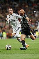 Real Madrid´s Sergio Ramos (L) and Malaga´s Amrabat during La Liga match between Real Madrid and Malaga at Santiago Bernabeu stadium in Madrid, Spain. April 18, 2015. (ALTERPHOTOS/Victor Blanco)