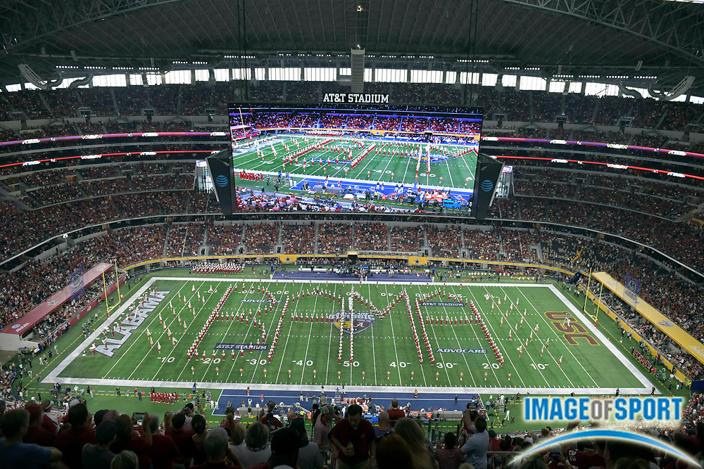 Sep 3, 2016; Arlington, TX, USA; General view of the Alabama Crimson Tide marching band before the game against the USC Trojans at AT&T Stadium.