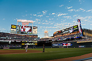 A general view of Target Field at sunset during a game between the Detroit Tigers and Minnesota Twins in Minneapolis, Minnesota on July 21, 2011.