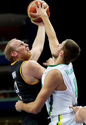 Chris Kaman of Germany vs Jonas Valanciunas of Lithuania during basketball game between National basketball teams of Lithuania and Germany at FIBA Europe Eurobasket Lithuania 2011, on September 11, 2011, in Siemens Arena,  Vilnius, Lithuania. Lithuania defeaed Germany 84-75. (Photo by Vid Ponikvar / Sportida)