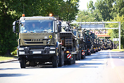 August 15, 2017 - Warsaw, Poland - Tanks and mobile artilleries wait for transport after the military parade of the celebration day of Polish Army. (Credit Image: © Madeleine Lenz/Pacific Press via ZUMA Wire)